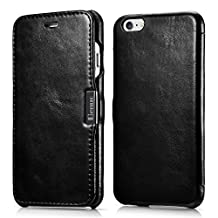 iPhone 6 & 6s Case, Benuo [Vintage Series] - Handcrafted 100% Genuine Leather Case with Magnetic Closure (Retro Black)