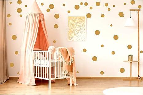 Ewtshop 48 Wandtattoo Dots Punkte Gold Aufkleber Punkte Fur Kinderzimmer Und Wohnraume