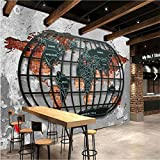 200cmX140cm Custom Wallpaper Retro Nostalgic Relief Metal World Map Bar Dining Background Wallpaper Decoration,200cmX140cm