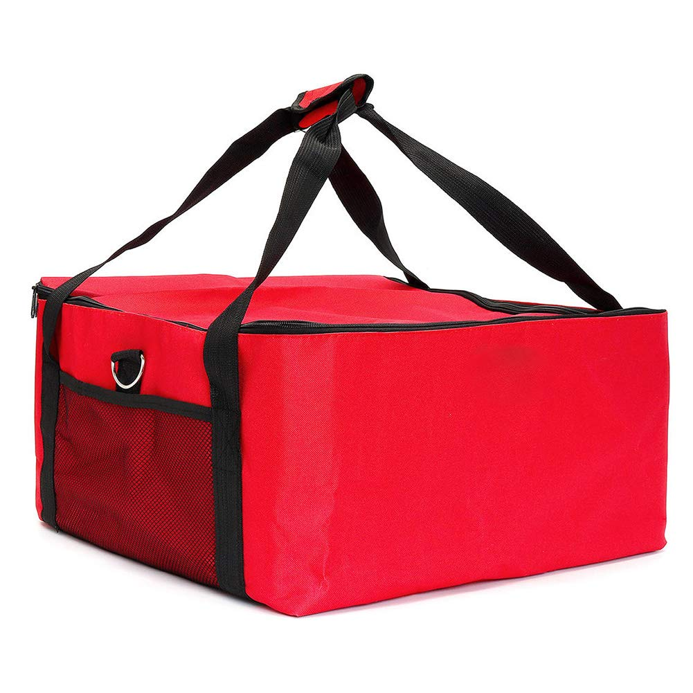 Pizza Delivery Bag, 16 Inch Food Delivery Bag Insulated Aluminium Foil, Warm Food Foldaway Professional Takeaway Bags Outdoor Picnic Insulation Tote Reusable Package Cooler Pouch Pizza Bag