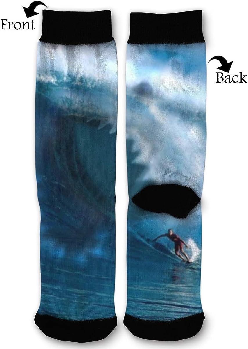 Shark Attack Surfer Comfort Sport Compression Crew Socks Best Graduated Athletic,Running,Flight,Travel For Women & Men