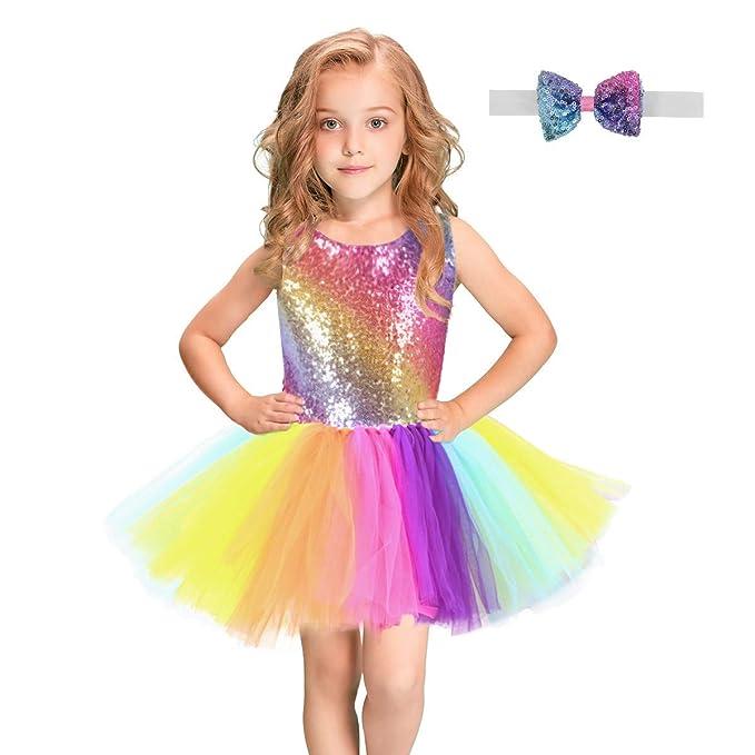 FONLAM Vestido de Princesa Fiesta Bautizo Niña Bebé Tutú Tul Danza Disfraz Vestido Cumpleaños Bautizo Infantil Carnaval Niña + Pajarita