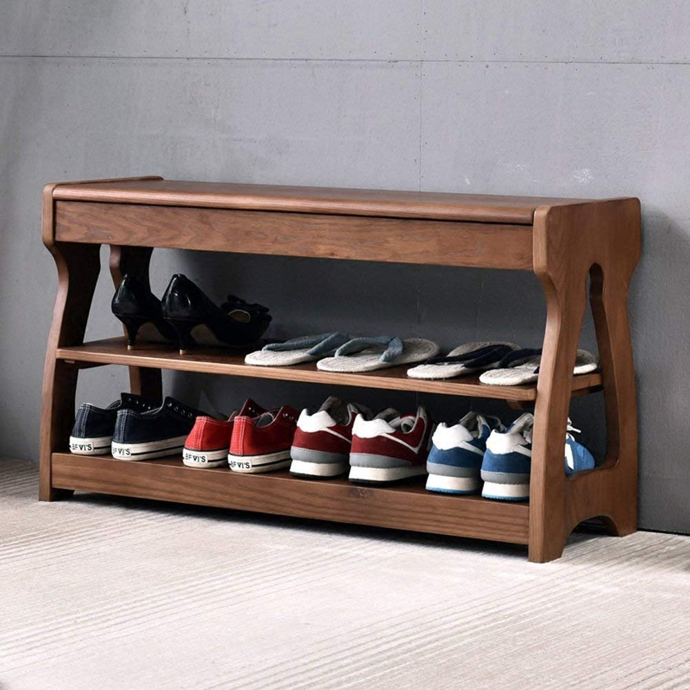 Shangxiangtrade 無垢材の靴のベンチ多目的靴ベンチ収納スツール靴ラック。 - 棚の靴 (Color : Walnut Color, サイズ : 80*30*45cm) B07QN6YKPC Walnut Color 80*30*45cm