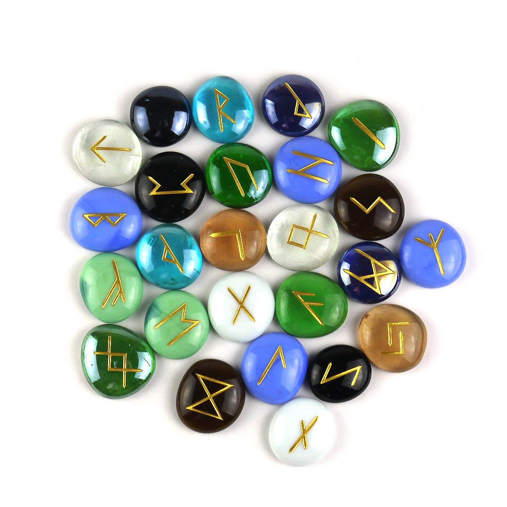 Pomcat 25pcs Multicolor Engraved Lettering Rune Glass Bead Set Pouch Wiccan Pagan Kit