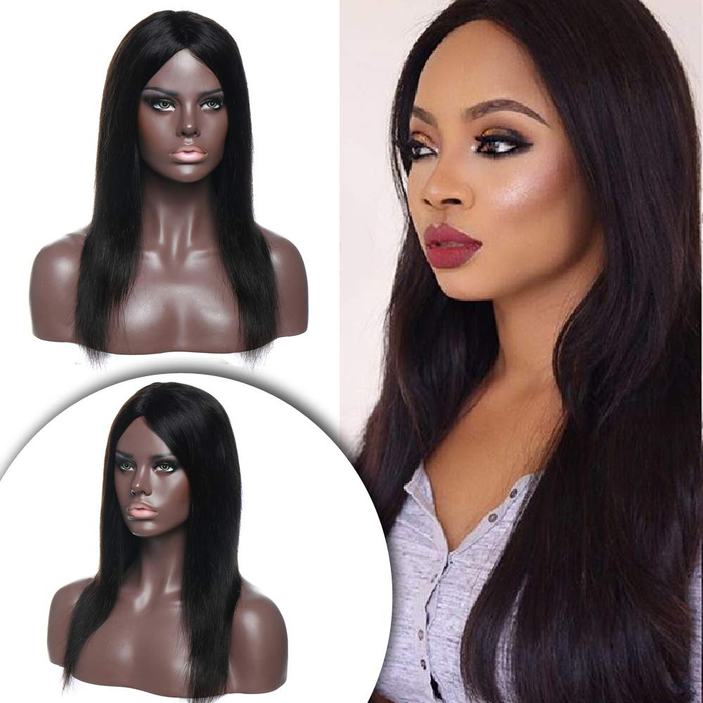 Amazon Com Virgin Human Hair Wigs 14 Inch Straight Brazilian Hair Wigs For Women Middle Part Machine Made 130 Density Glueless Natural Black Silky Beauty
