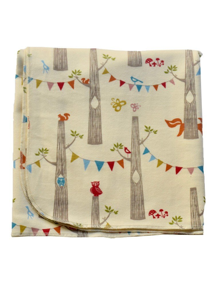 Sophia Sam Baby Cream Wood Party Pattern Organic Cotton Swaddle Blanket