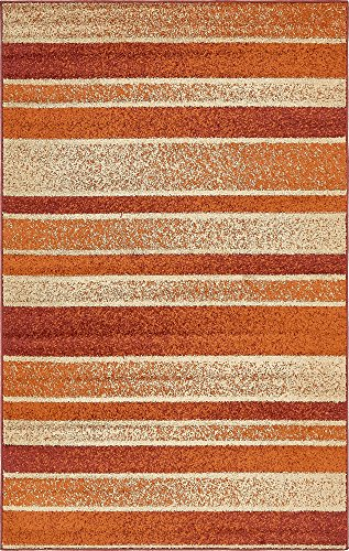 (Unique Loom Autumn Collection Warm Toned Striped Casual Rust Red Area Rug (5' x 8'))