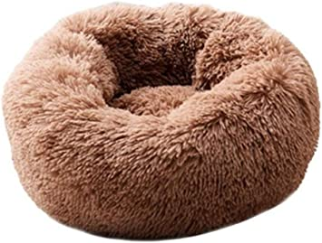 Image of POPOTI Extra Large Dog Beds Sofa,Deluxe Fluffy Washable Round Dog Pillow Cat Cushion Pet Bed for Cat and Dog Snooze Sleeping Kennel (XXL-100cm, Brown)