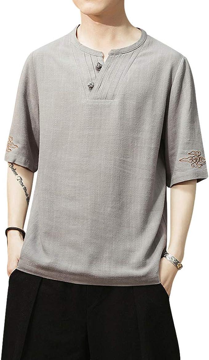 Camisa Hombre Cuello Mao Lino Blusa Manga Corta Camisas Top Suelta Camisas De Trabajo con Boton de Decoracion Suave Transpirable Gris Claro L: Amazon.es: Ropa y accesorios