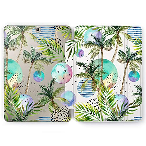 Wonder Wild Palm Trees Samsung Galaxy Tab S4 S2 S3 Smart Stand Case 2015 2016 2017 2018 Tablet Cover 8 9.6 9.7 10 10.1 10.5 Inch Clear Design Multicolored Tropical Exotic Beach Vacation Planets Sky