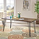 Aneissa Industrial Faux Live Edge Rectangular Dining Table, Natural For Sale