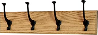 product image for PegandRail Solid Oak Wall Mounted Coat Rack - Large Black Mission Hooks - Made in The USA (Golden Oak, 20 x 4.5 X-Wide - 4 Hooks)