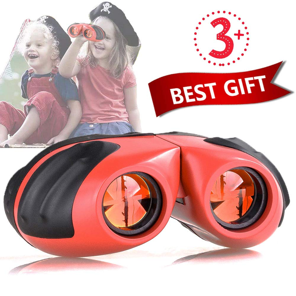 Niskite Binoculars for Kids - Best Toy Gift for 3-10 Year Old Boys Girls, Compact Shockproof Small Outdoor Spotting Telescope for Bird Watching, Camping and Hunting (Orange)