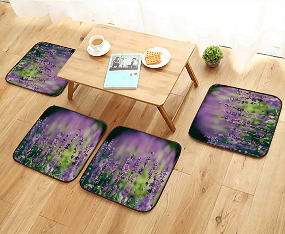 UHOO2018 Chair Cushions Natural Flower Background amaz Nature Purple Flowers Bloom in Garden Under Sunlight Non Slip Comfortable W25.5 x L25.5/4PCS Set