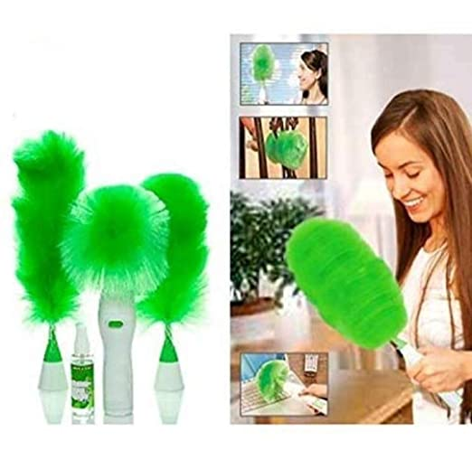 NAVDIYASALES Creative Hand-Held, Sward Go Dust Electric Feather Spin Home Duster, Green. Electronic Motorised Cleaning Brush Set: Amazon.in: Home Improvement