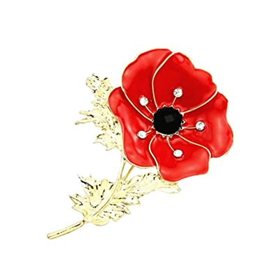 5c44d8f13c7 Poppy Pin Badges Brooches Crystal Flower Brooch Badge Glitter Soldier  Enamel Lapel Plating Pin Gift For Remembrance Day: Amazon.co.uk: Jewellery