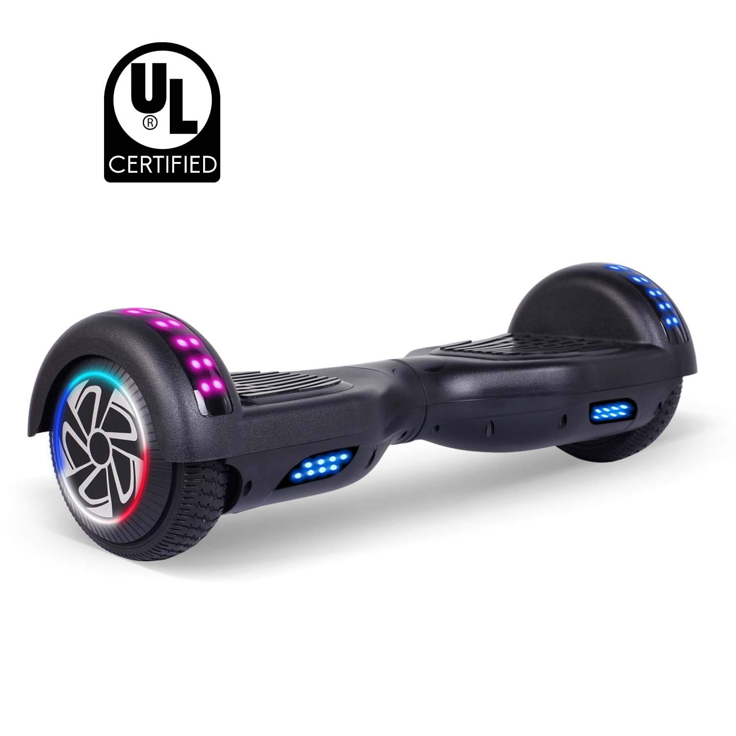 "SWEETBUY Hoverboards 6.5"" Two-Wheel Self Balancing Electric Scooter with LED Light Flash Lights Wheels with UL 2272 Certified and Carry Bag(Black)"
