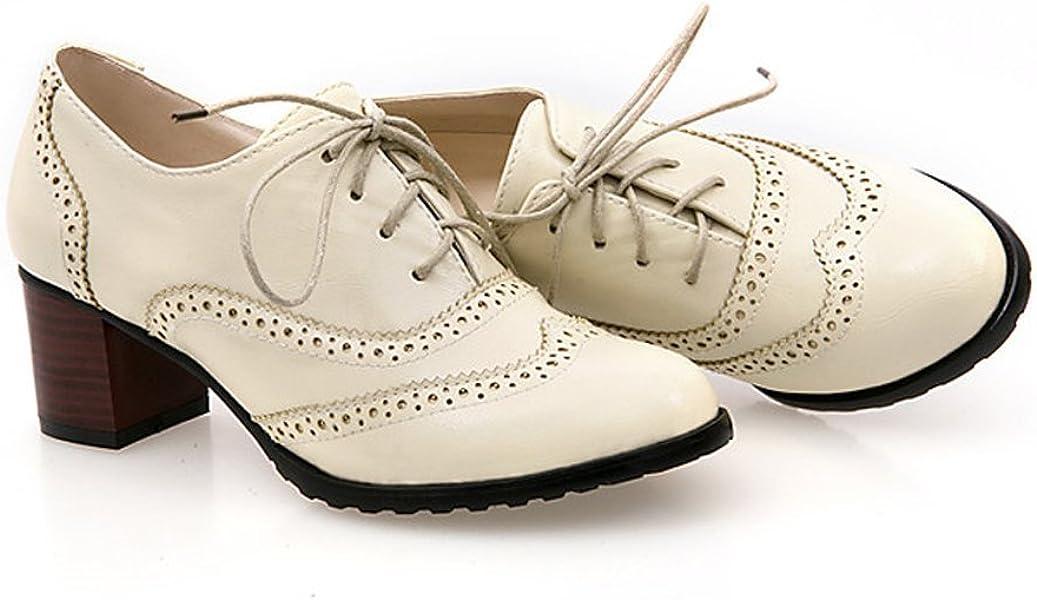 fa6bbaa5410 England Brogue Shoe Womens Lace-up Mid Heel Wingtip Oxfords Vintage PU  Leather Shoes