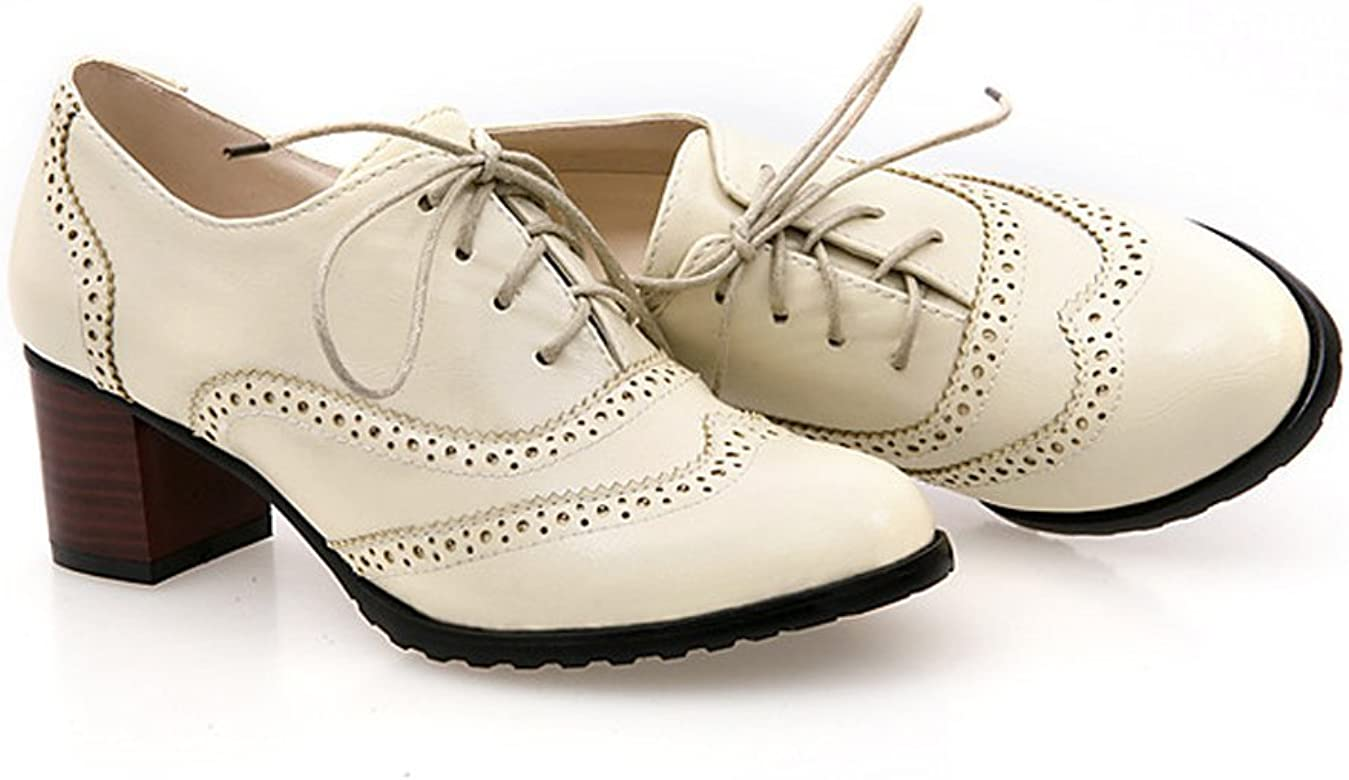 b37d880aad46 England Brogue Shoe Womens Lace-up Mid Heel Wingtip Oxfords Vintage PU  Leather Shoes