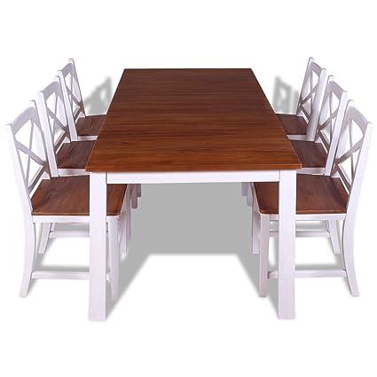 Fesjoy Sala da Pranzo Tavolo da Pranzo 7 Pezzi e sedie ...