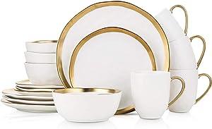 Stone Lain Porcelain 16 Piece Dinnerware Set, Service for 4, White and Golden Rim