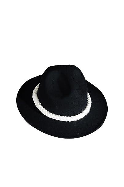 ByTher Men s Dark Rope Decoration Wool Felt Mountain Fedora Hat Ivory 522d95278809