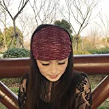 Jewelry Women Gift Hair Wig Women Girls Hair Accessories Headband Wide Hairpin Hair pin Comb Claw Turban Headband Hair Bands face Headdress Korea (New Short Striped Ribbon Burgundy