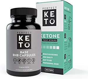 Perfect Keto Exogenous Ketones: Base BHB Salts Supplement for Ketogenic Diet Best to Support Weight Management & Energy, Focus and Ketosis Beta-Hydroxybutyrate BHB Salt with Keto Strips Bundle
