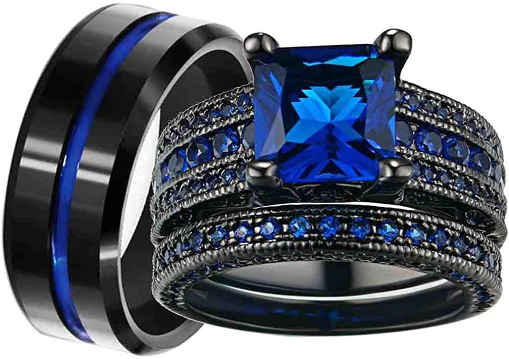 RingHeart Couple Rings Black Plated Princess Cut Blue Cz Womens Wedding Ring Sets Titanium Steel Men Wedding Band