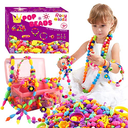 ROSYKIDZ Snap Pop Beads Set, 600 Pcs Arty Beads Jewelry Making Kit with Rhinestone Sticker, Bracelet Necklace Ring Hairband Earrings Arts and Crafts Toys for Kids 4, 5, 6, 7, 8, 9 Years Old Girls