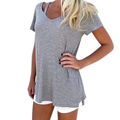 4cef9154f77799 Staron Women Summer Fashion Loose Short Sleeve T-Shirt Casual Tops Blouse (S
