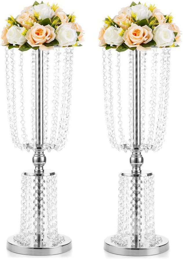 Amazon Com 2 Pcs 23 75 Inches Tall Crystal Metal Vase Flower Stand Holders Wedding Centerpiece Chandelier For Reception Tables Wedding Supplies Home Kitchen