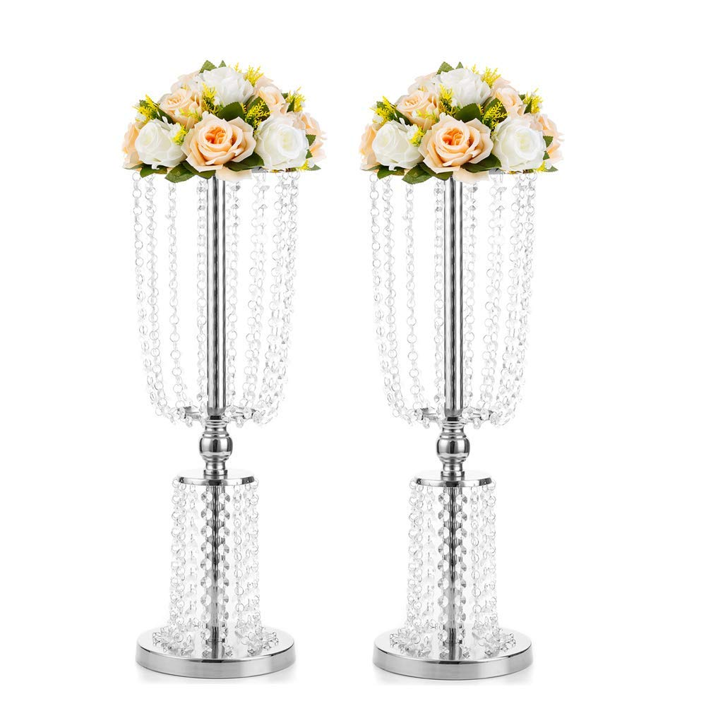 2 Pcs 23.6'' Tall Crystal Metal Vase Flower Stand Holders Wedding Centerpiece Chandelier for Reception Tables Wedding Supplies (Silver, 2 Layer Crystal Large Size)