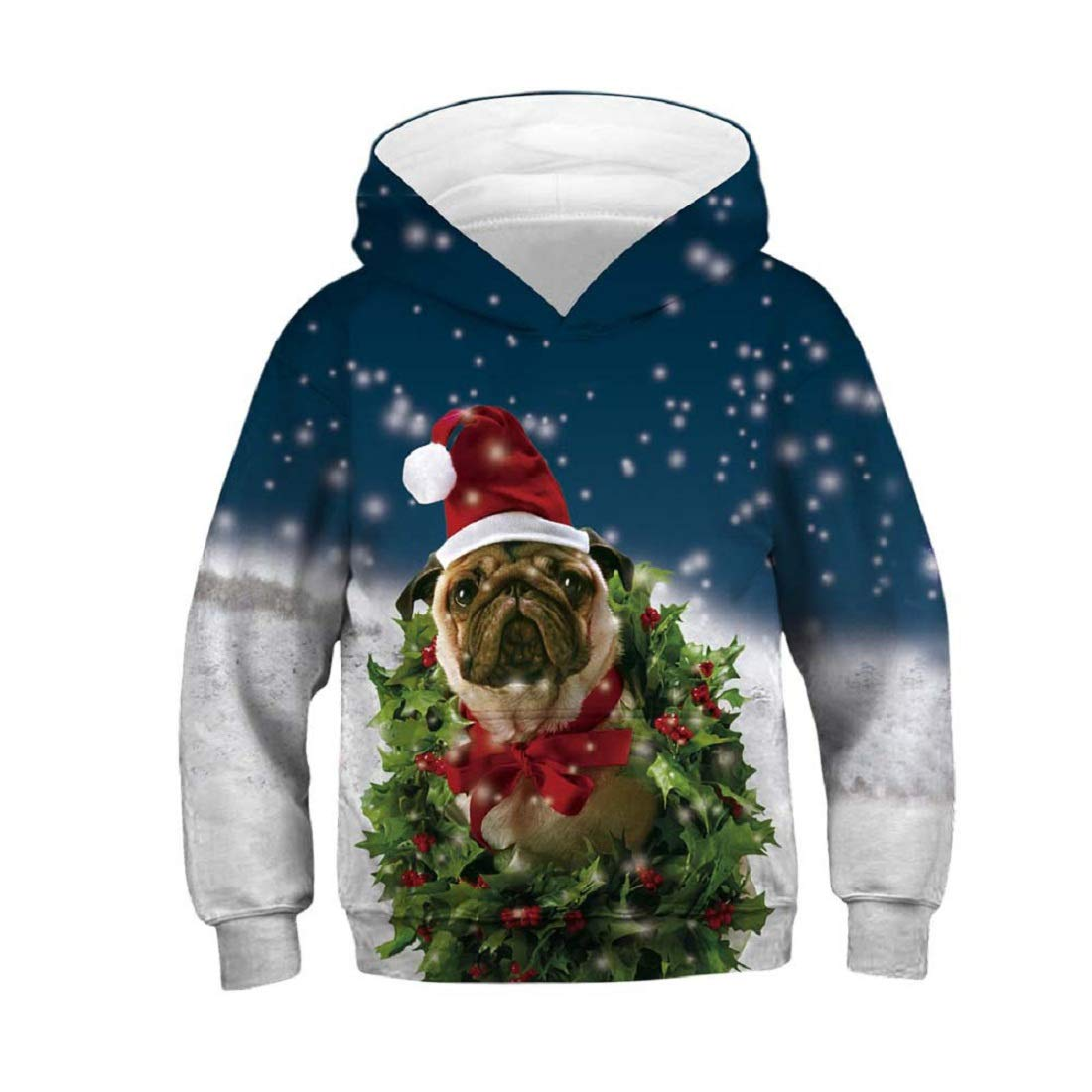 CSSD Clearance Stylish Christmas Long Sleeve Christmas Cartoon 3D Digital Print Hoodie Sweater Jackets (C, 8T)