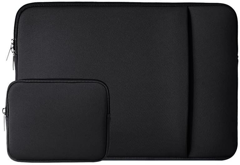 "RAINYEAR 11-11.6 Inch Laptop Sleeve Case Soft Carrying Computer Bag Cover with Front Pocket & Accessories Pouch,Compatible with 11.6"" MacBook Air for 11"" Notebook Tablet Ultrabook Chromebook(Black)"