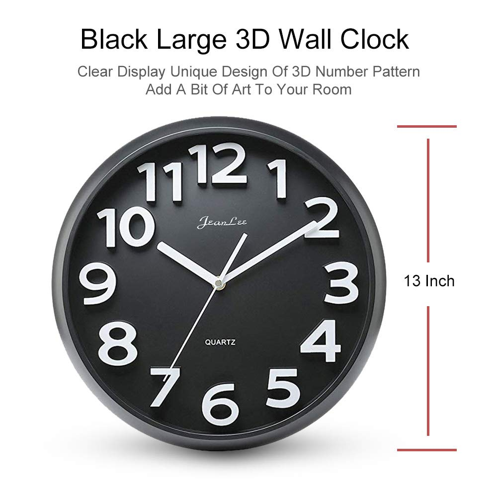 Amazon com gkwet large number wall clock silent non ticking 13 inch large 3d numbers quality quartz decorative wall clock round easy to read modern style