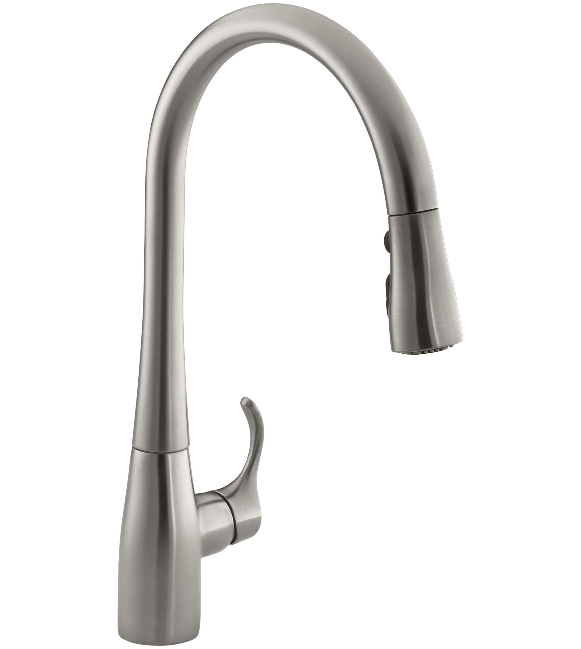 Kohler K-596-Vs Simplice High-Arch Single-Hole Or Three-Hole, Single Handle, Pull-Down Sprayer Kitchen Faucet, Vibrant Brushed Stainless With 3-Function Spray Head, Sweep Spray And Docking Spray Head Technology by Kohler