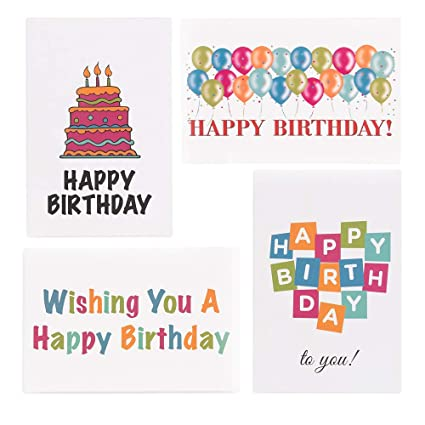 Amazon Happy Birthday Cards Bulk Box Of 48 4x 6 4 Assorted Designs With Envelopes Office Products