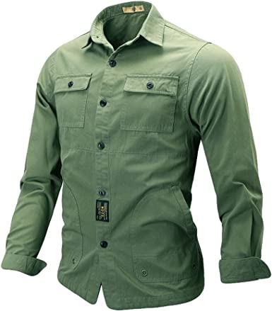 Rawdah Camisas Hombre Manga Larga Camisas Hombre Grandes Camisas Hombre Traje Slim Fit Camisas Casual Blusa Superior de Manga Larga con Bolsillo Puro Militar de Moda Casual para Hombre: Amazon.es: Ropa y