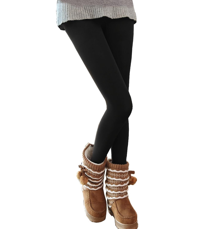 MEDIA WAVE store Pack da 3, 5 o 10 Leggings Neri Donna Effetto Termico Interno Felpato Elasticizzato Collant Winter Fuseaux (Pack 3 Paia, S/M)