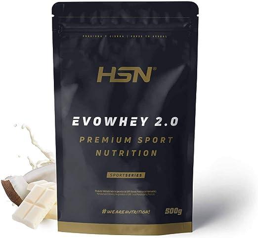 Whey Protein Concentrate (WPC) de HSN Sports - Concentrado de Proteína de Suero Evowhey 2.0 - Sabor Chocolate Blanco Coco - 500 gr