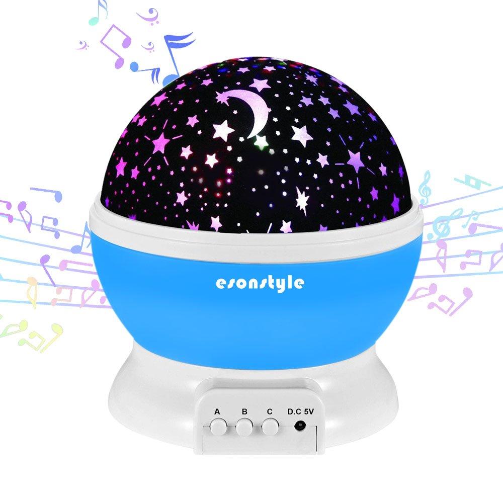 Luz nocturna con música de Esonstyle, rotación de 360 grados, con proyección de estrellas, para bebés, con batería recargable, 12canciones para relajarse para dormir, para niños, bebés; regalo de cumpleaños o Navidad para bebés para niños