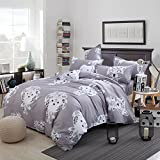 Yunr Lightweight Polyester Microfiber Duvet Cover Set,Grey Sheep Cute Kids Print Floral Design (Twin