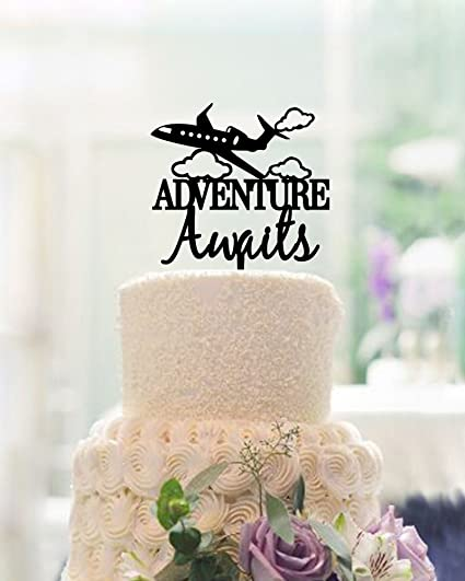 Amazon Unique Design Adventure Wedding Cake Toppers Personalized Name Airplane Cloud Topper For Kitchen Dining