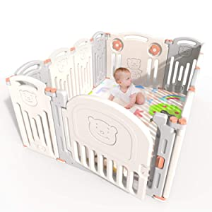 kidsclub Baby Playpen Infants Safety Fence Foldable Portable Play Yard, HDPE, BPA Free, Home Indoor Outdoor Activity Centre Play Pen (12 Panel)