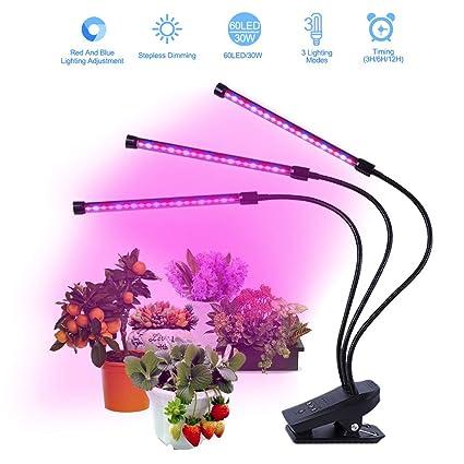 Amazon.com: LED Grow Light for Indoor Plants, 30W 60Leds 3 ...