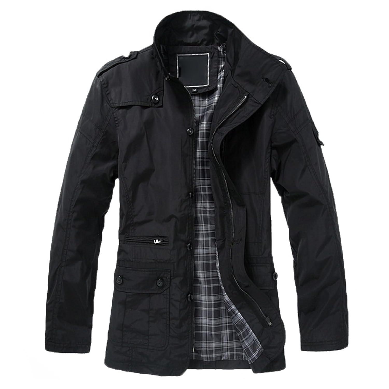 Highdas Men Causal Outdoor Jacket Windbreaker Zipper Coats Outwear