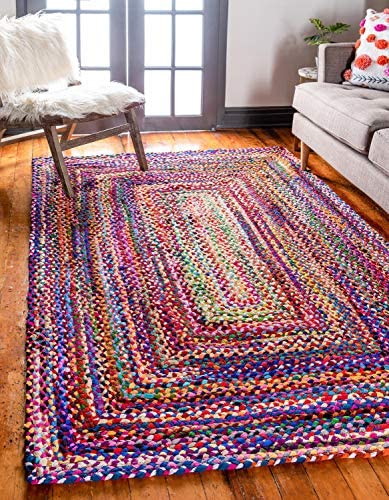 Unique Loom Braided Chindi Collection Casual Modern Multi Area Rug 8' 0 x 10' 0