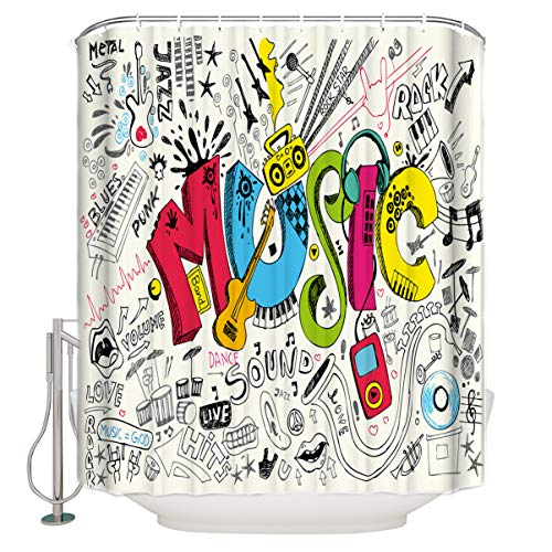 (Bathroom Shower Curtain Music Poster Celebrating Rock Party Durable Waterproof Fabric Home Bath Curtain Sets with 12 Hooks, 72