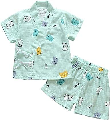 Pijama para Bebé Infantil Mono Algodón Kimono Estilo Japonés Ropa Camisa del Bebé Dormir Set Verano Japonesa Pijamas: Amazon.es: Ropa y accesorios